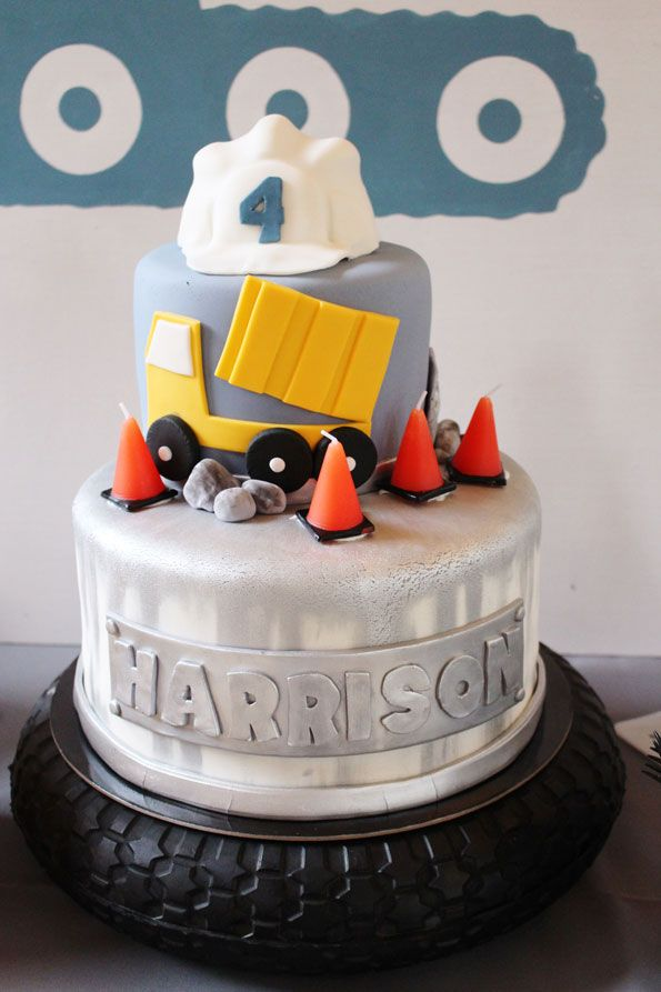 The Splurge Item On Dessert Table Was Most Certainly Cake Featuring Construction Trucks Modern Textures And Orange Safety Cone Candles