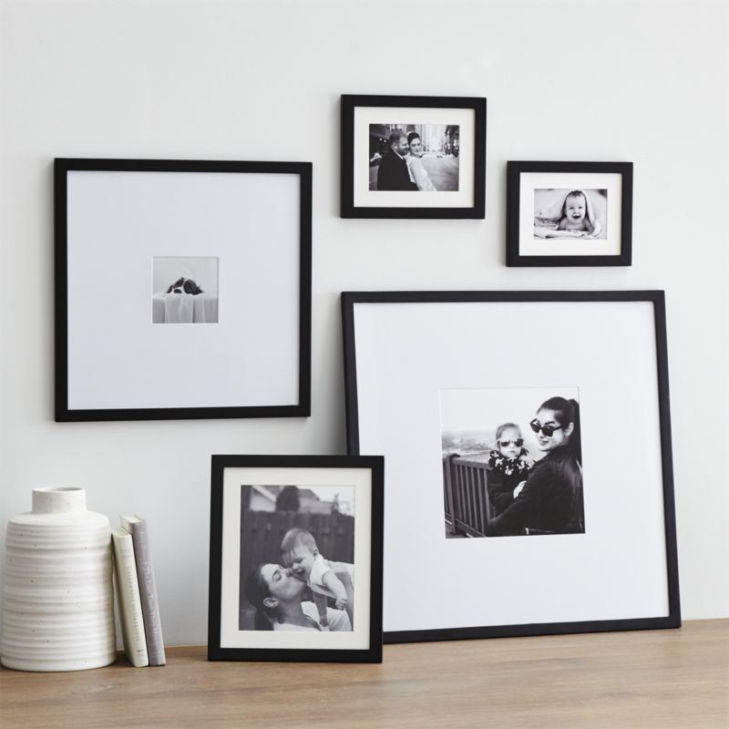 Shop 5-Piece Matte Black Picture Frame Set. Classic black wood and ...