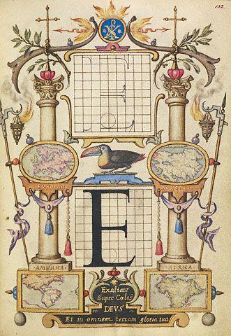 """Letter """"E"""" Joris Hoefnagel, 16th Century, Model Book of Calligraphy."""