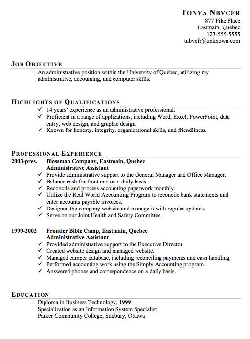 Resume Sample For Administrative Assistant Susan Ireland Resumes Example  Images Amp Pictures Becuo