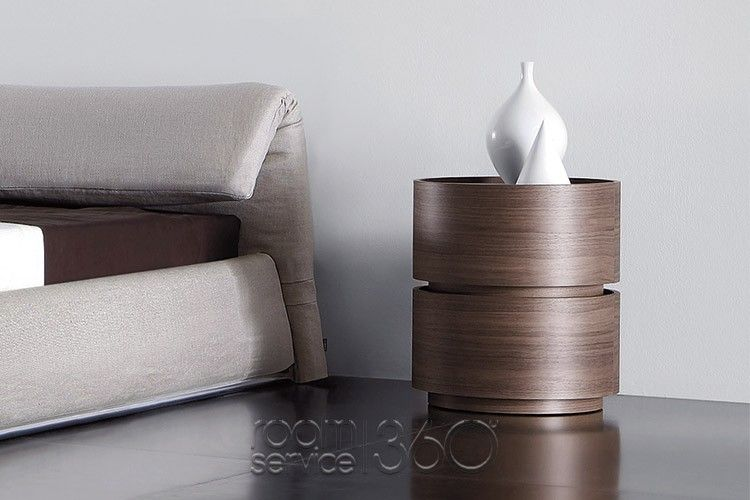 Dedalo Round Double Stacked Nightstand In Canaletto Walnut By