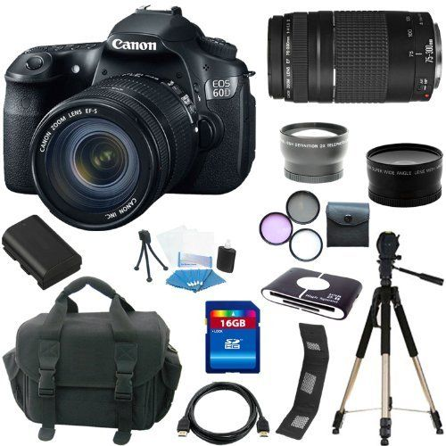 Canon EOS 60D 18 MP CMOS Digital SLR Camera with 3.0-Inch LCD and EF-S 18-55mm f/3.5-5.6 IS SLR Lens + EF 75-300mm f/4-5.6 III Telephoto Zoom Lens + (3)Extra Lens + 16GB Deluxe Accessory Kit by Zm. $1055.00. An EOS with Perspective. With the new EOS 60D DSLR, Canon gives the photo enthusiast a powerful tool fostering creativity, with better image quality, more advanced features and automatic and in-camera technologies for ease-of-use. It features an improved APS-C sized 18.0 ...