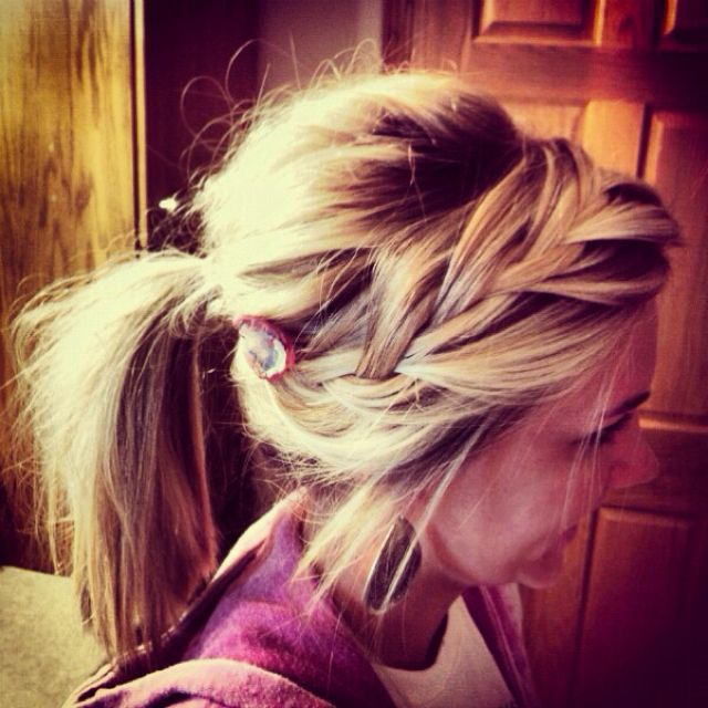 loose braid and pony tail - super cute