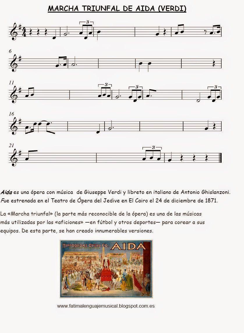 El Lenguaje Musical De Fátima Partitura Para Completar Marcha Triunfal De Aida Partituras Clase De Musica Educacion Musical