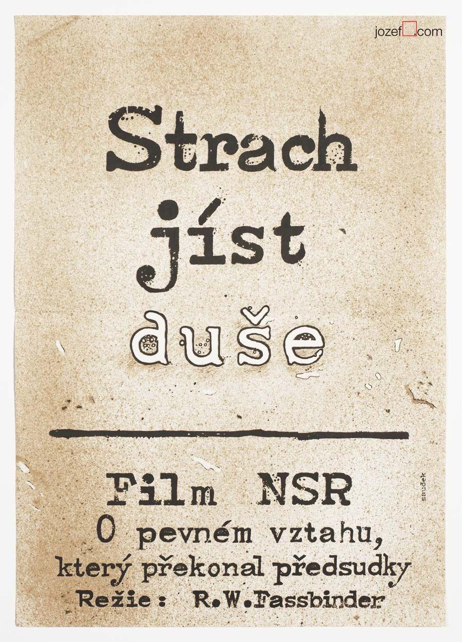 Great minimalist #movieposter for Rainer #WernerFassbinder 's film Eli, Fear Eats the Soul designed by Karel Saudek, 1977. price: £67.00   #KajaSaudek #MoviePoster #TypographyPosters #70sMoviePoster #VintagePoster