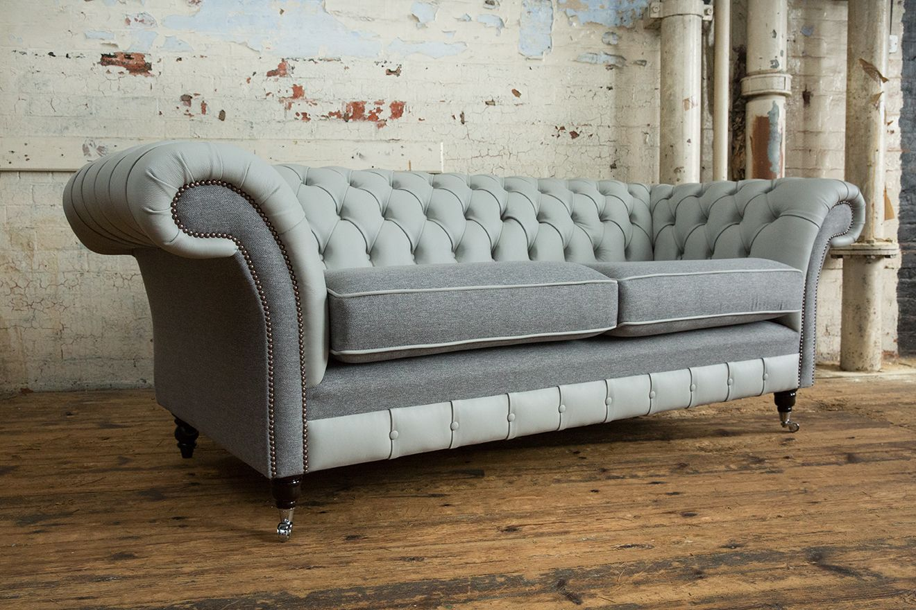 Handmade 3 Seater Chesterfield Sofa Silver Grey Leather With Iron