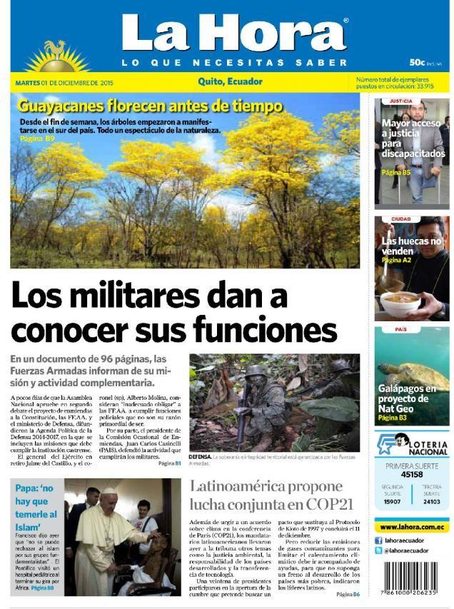 Buenos días estimados lectores. Este martes 1 de diciembre de 2015 presentamos nuestra portada para #Quito con el tema:   Los militares dan a conocer sus funciones: http://bit.ly/1IzNXgX