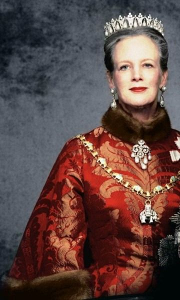Queen Margrethe II of Denmark looking regal in the exquisite perle pore parure and one of her most beautiful gowns.