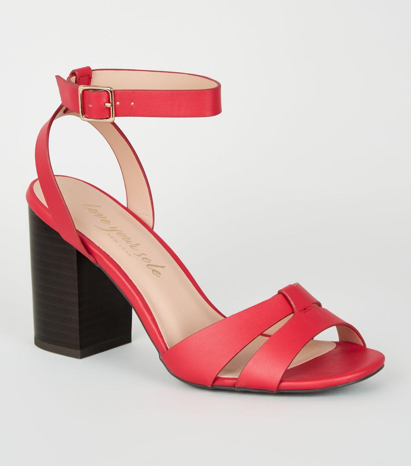 Red Leather Look 2 Part Block Heels | Footware in 2019 | Red