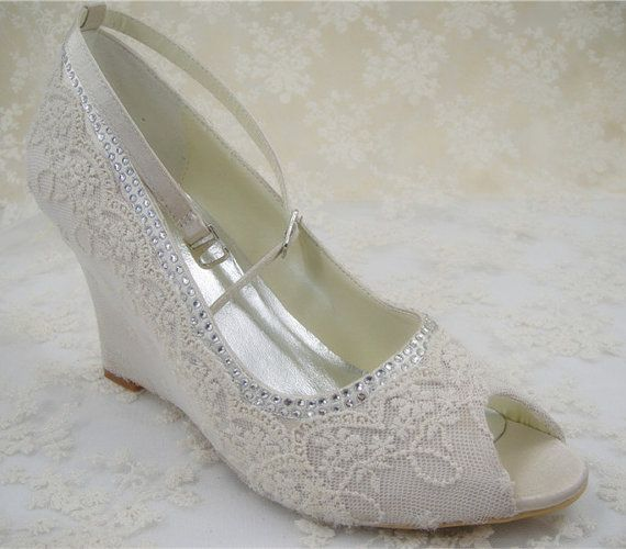 Lace Wedding Shoes Peep Toe Bridal Shoes Rhinestone By