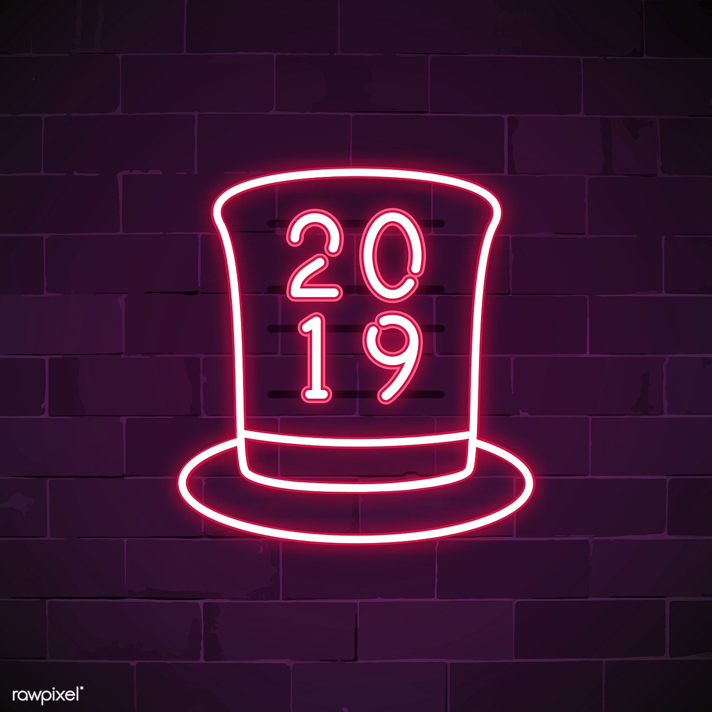 2019 in a pink top hat neon sign vector free image by