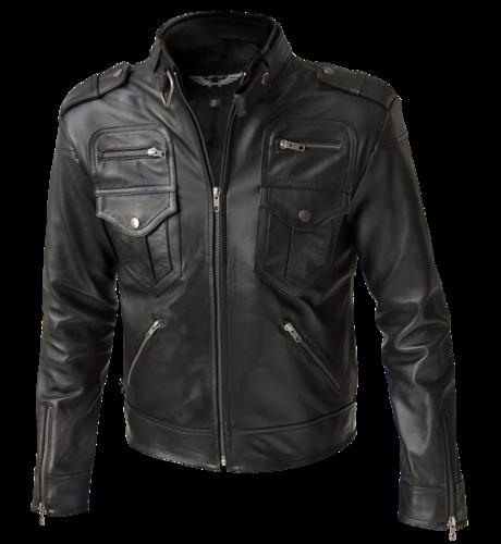 OWEN Black Leather Jacket. Slim fit vintage style leather jacket.