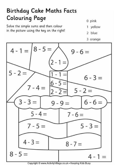 Birthday cake maths facts colouring page | matemaatika | Pinterest ...