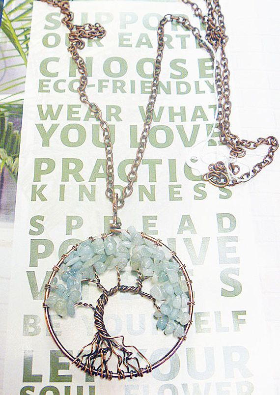 Opalite Wire Wrapped Tree of Life Copper Necklace   Hippie
