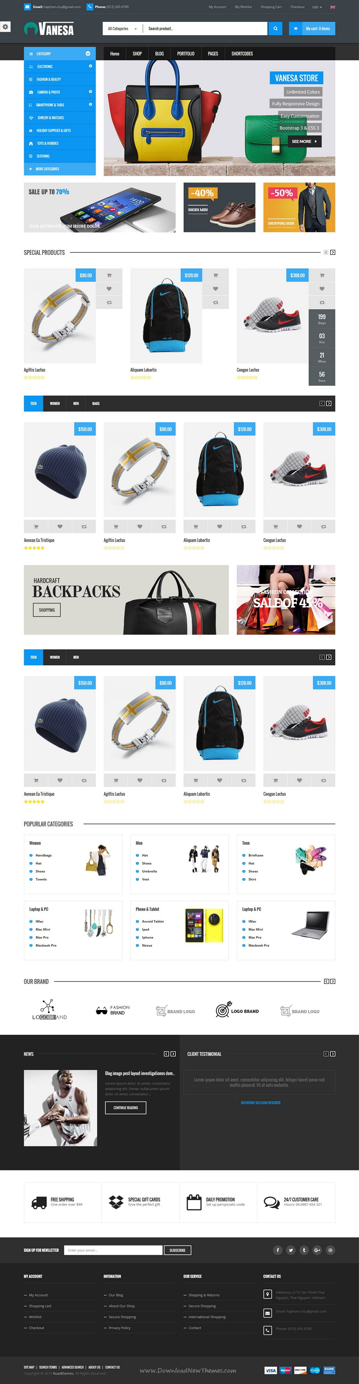 Vanesa is modern and trendy Responsive Shopify #Template for multipurpose eCommerce #website. It has 10 stunning homepage variation. #onlineshop Download Now!
