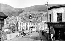 Town Hall And Bridge, Mountain Ash, Wales, 1950