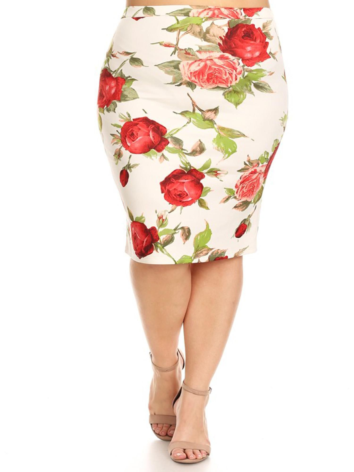 b97729b318f MOA COLLECTION Women s Plus Size Floral Pattern Print Casual Stretch Midi  Pencil Skirt Made in
