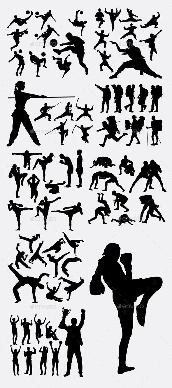 Sport Champion Silhouettes Sportsactivity Conceptual Clip Art