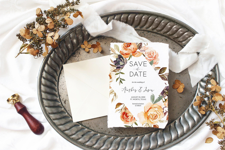 Peach Floral Corjl 204 Burgundy Flowers Autumn Coral Floral Wedding Suite Boho Wedding Invitation Fall Wedding Editable Template