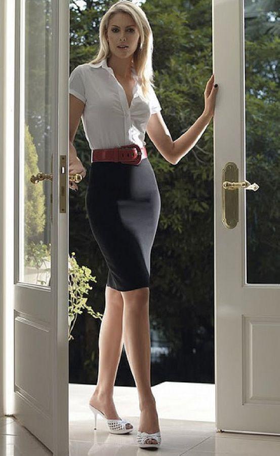 White shirts black pencil skirt white heels. Formal office work clothing women apparel ...