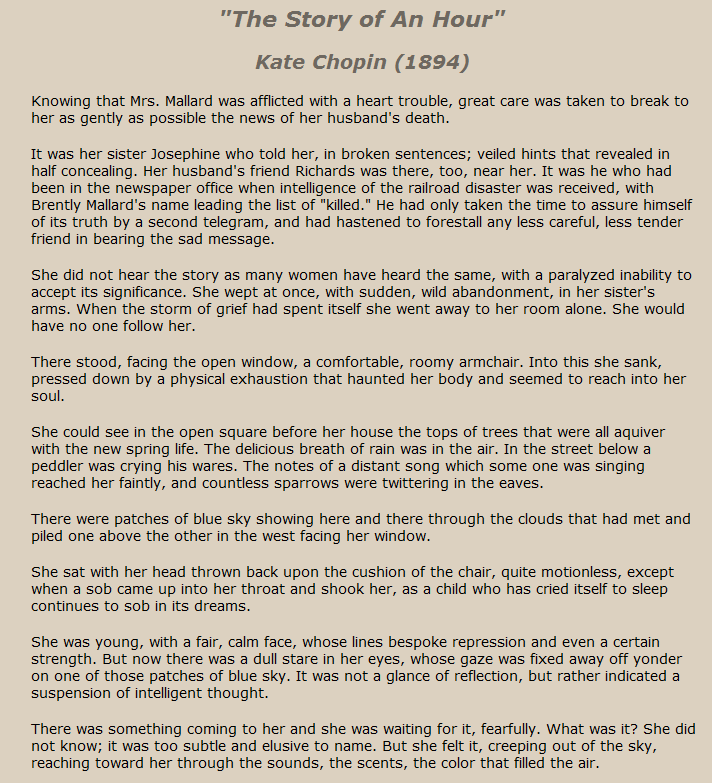 The Story Of An Hour Short Essay Kate Chopin Best Short Stories