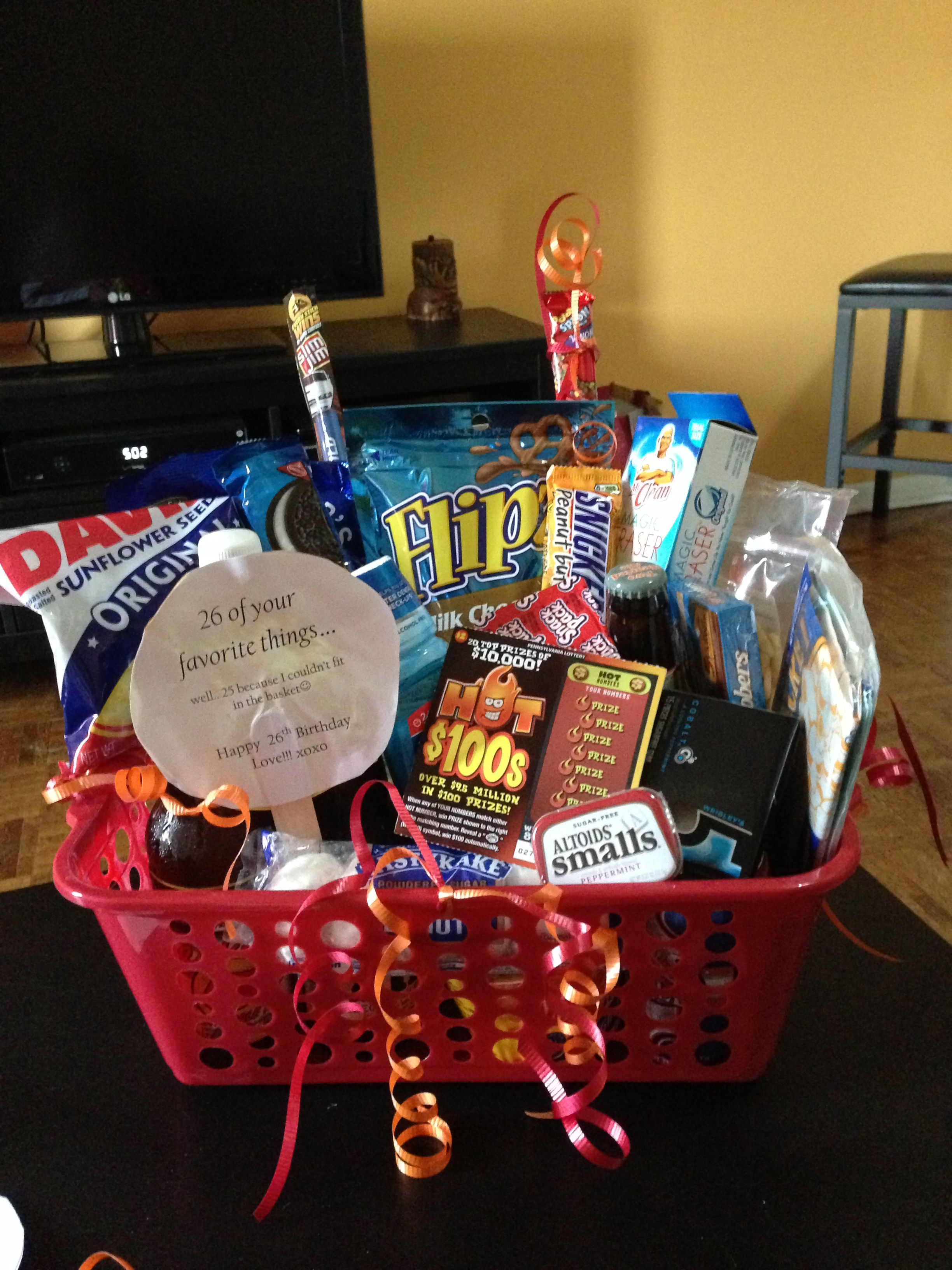 Boyfriend birthday basket 26 of his favorite things for for Presents for boyfriends birthday