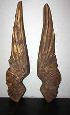 GREAT PAIR OF WOODEN DISTRESSED ANGEL WINGS, PRETTY FINISH!