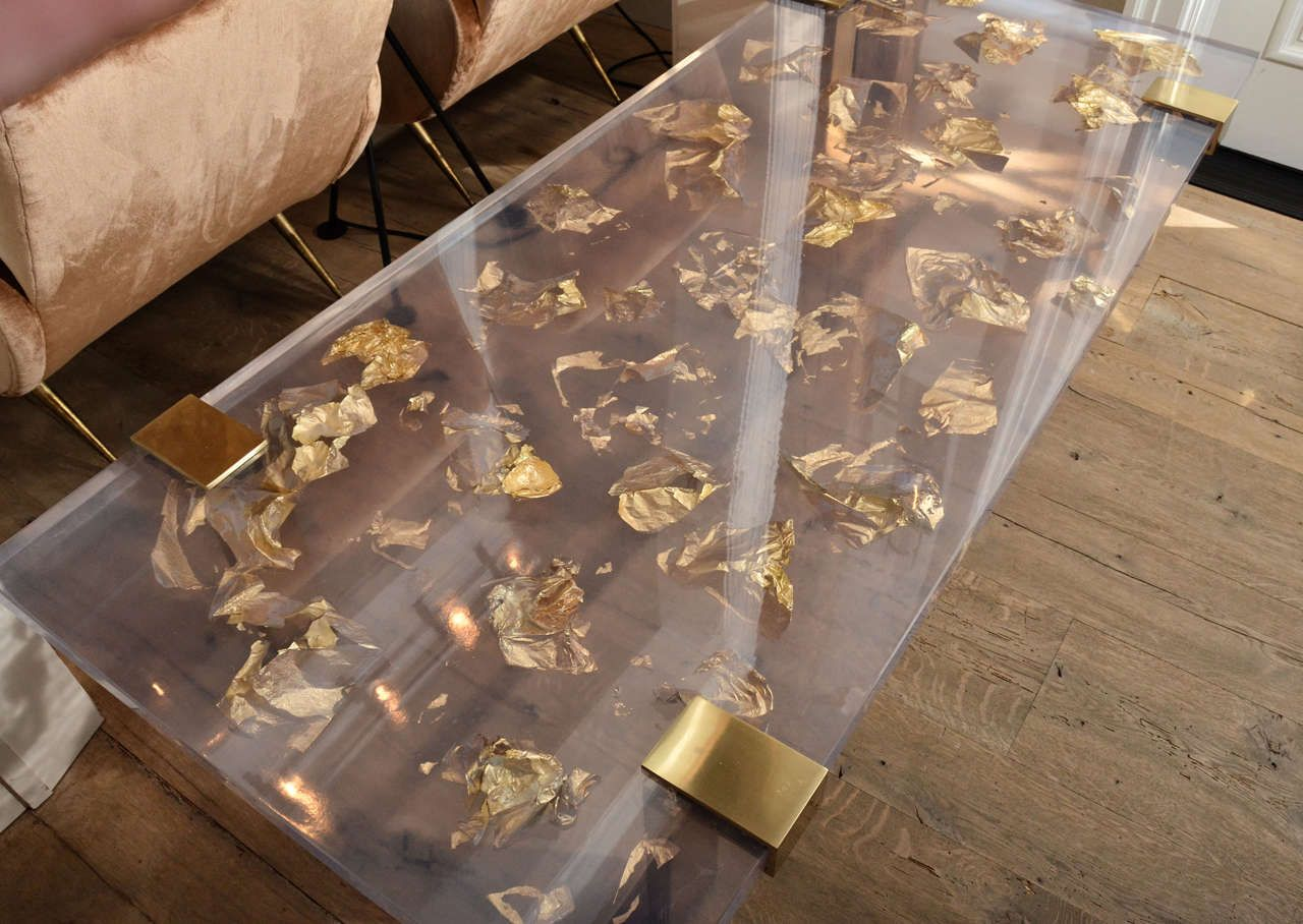 Very best Contemporary Gold Leaf Inlay Coffee Table with Brass Frame For  RR01