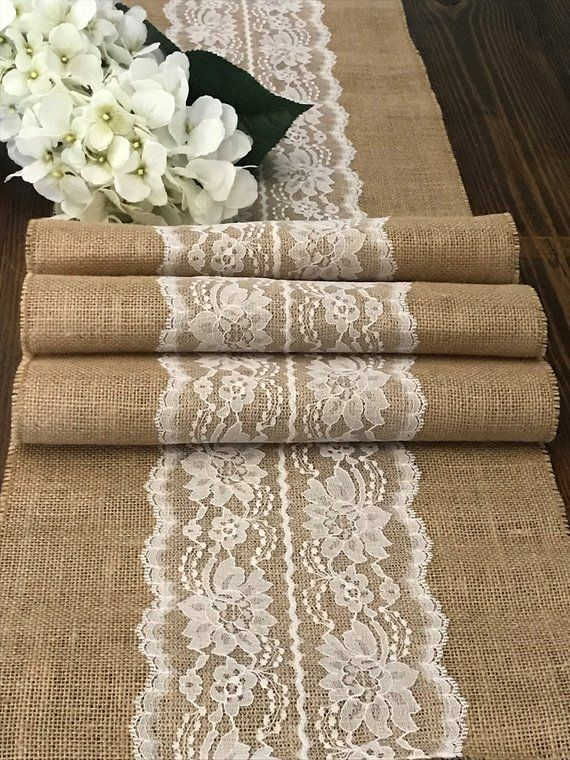 Burlap Table Runner with Ivory or White Lace Center, Farmhouse Rustic Table Decor, Vintage, Country, Garden Wedding Reception, 14″ width