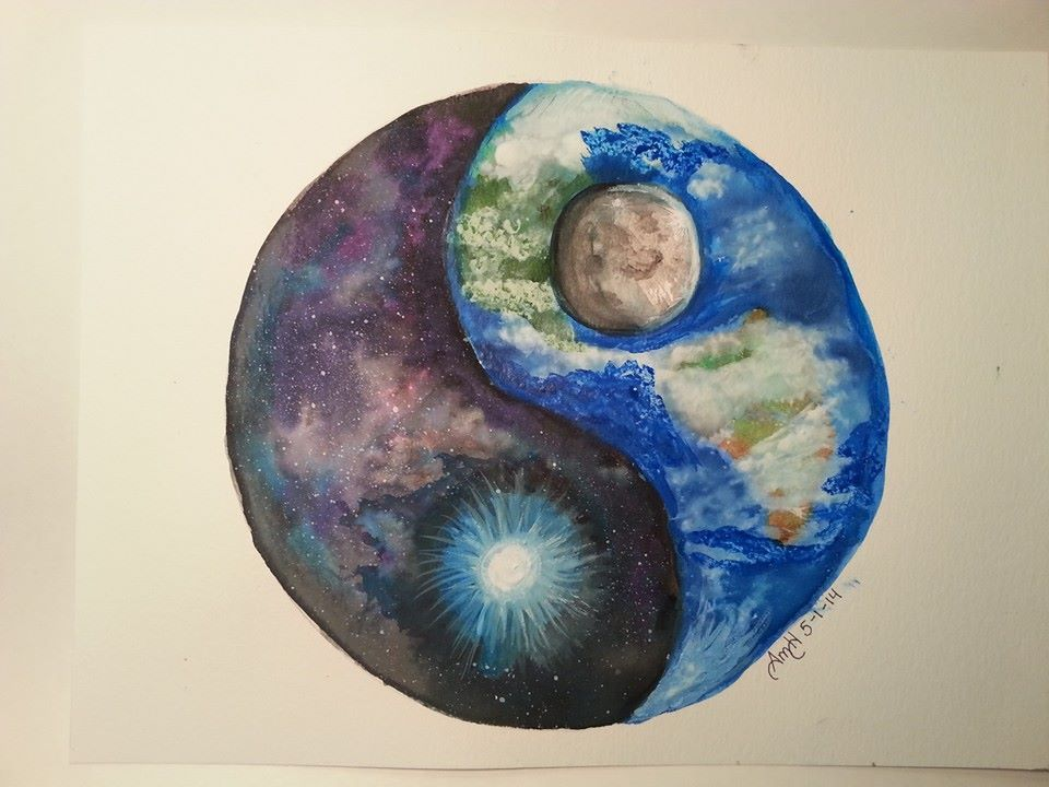 space/Earth Yin Yang painted in water color and acrylic paints. I ...