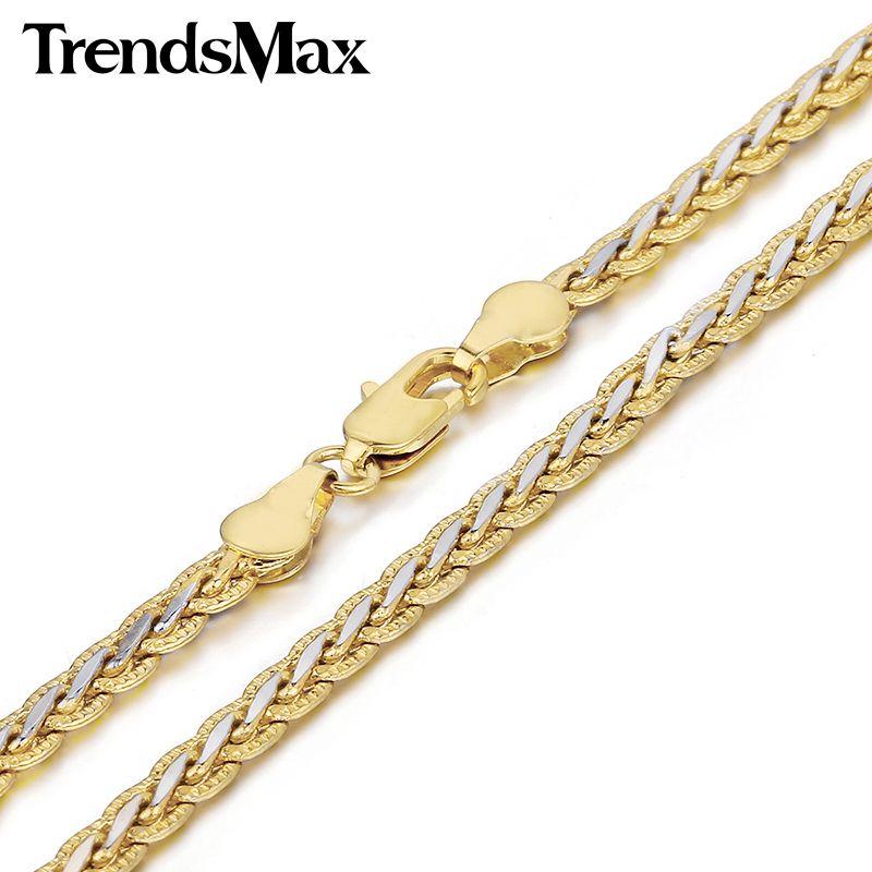 Trendsmax 3/4 미리메터 망치로 꼰 밀 링크 노란색 화이트 골드 채워진 목걸이 여자 남성 체인 패션 보석 gn328 gn411