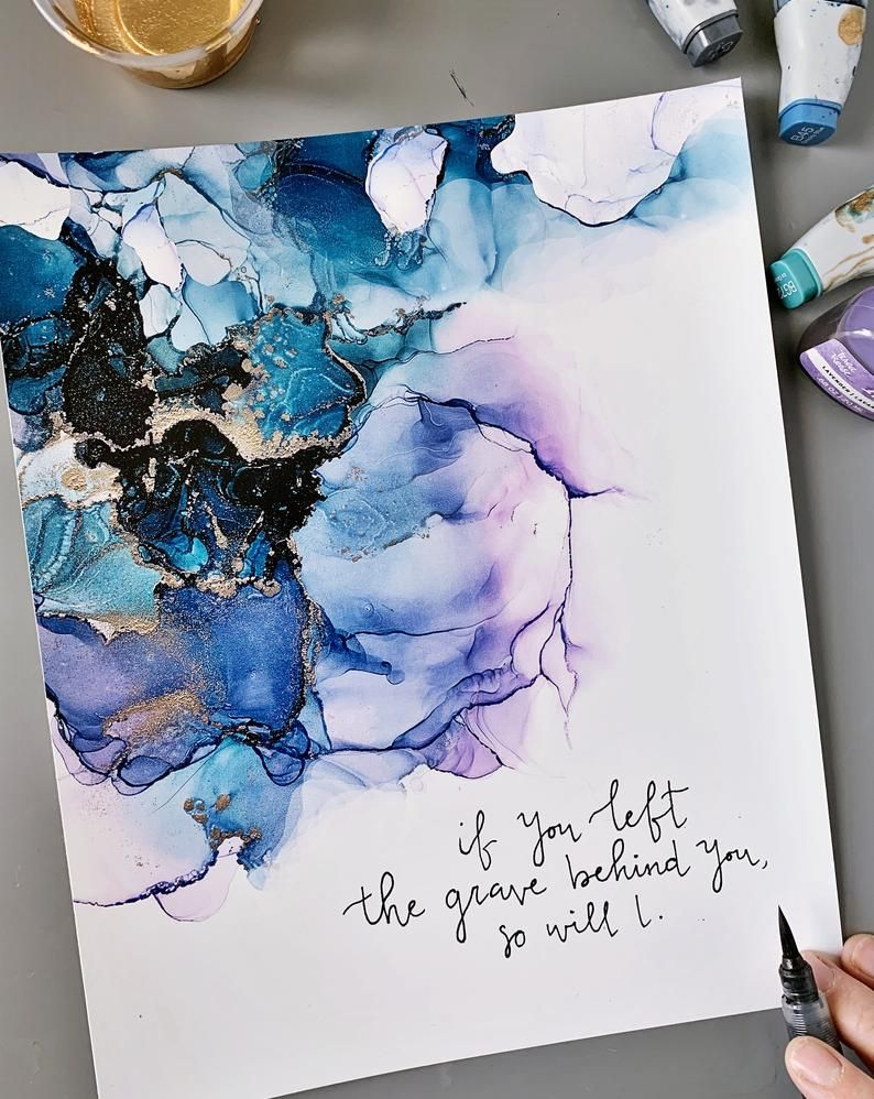 So Will I calligraphy, Hillsong alcohol ink painting in