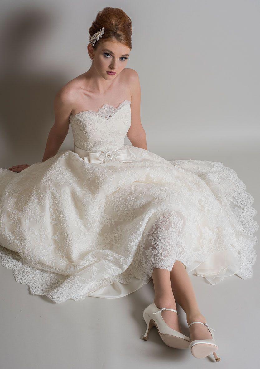 81e165fc456bf Posy/ Ivory over Ivory/ Lace Satin Vintage Style Wedding Dresses, Tea  Length,