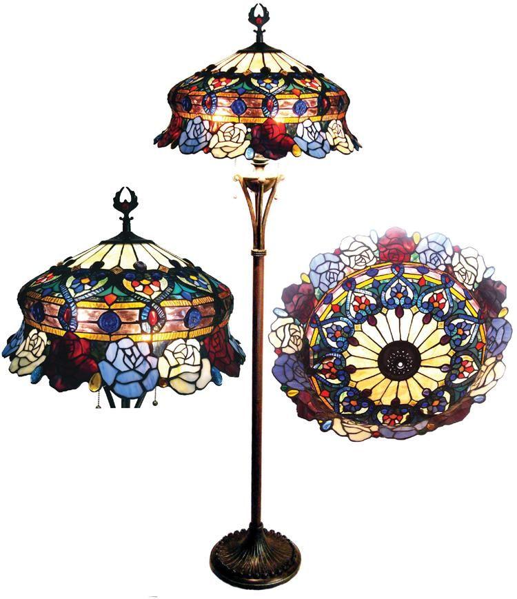 Tiffany Style Rose Design 3 Light Bronze Floor Lamp