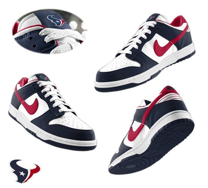 882140108 Mens Nike Houston Texans Dunk Shoes white blue ID 789410536  65 ...