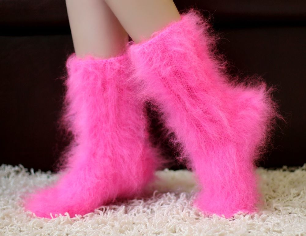 New Hand Knitted Mohair Socks Fuzzy Neon Pink Soft Leg