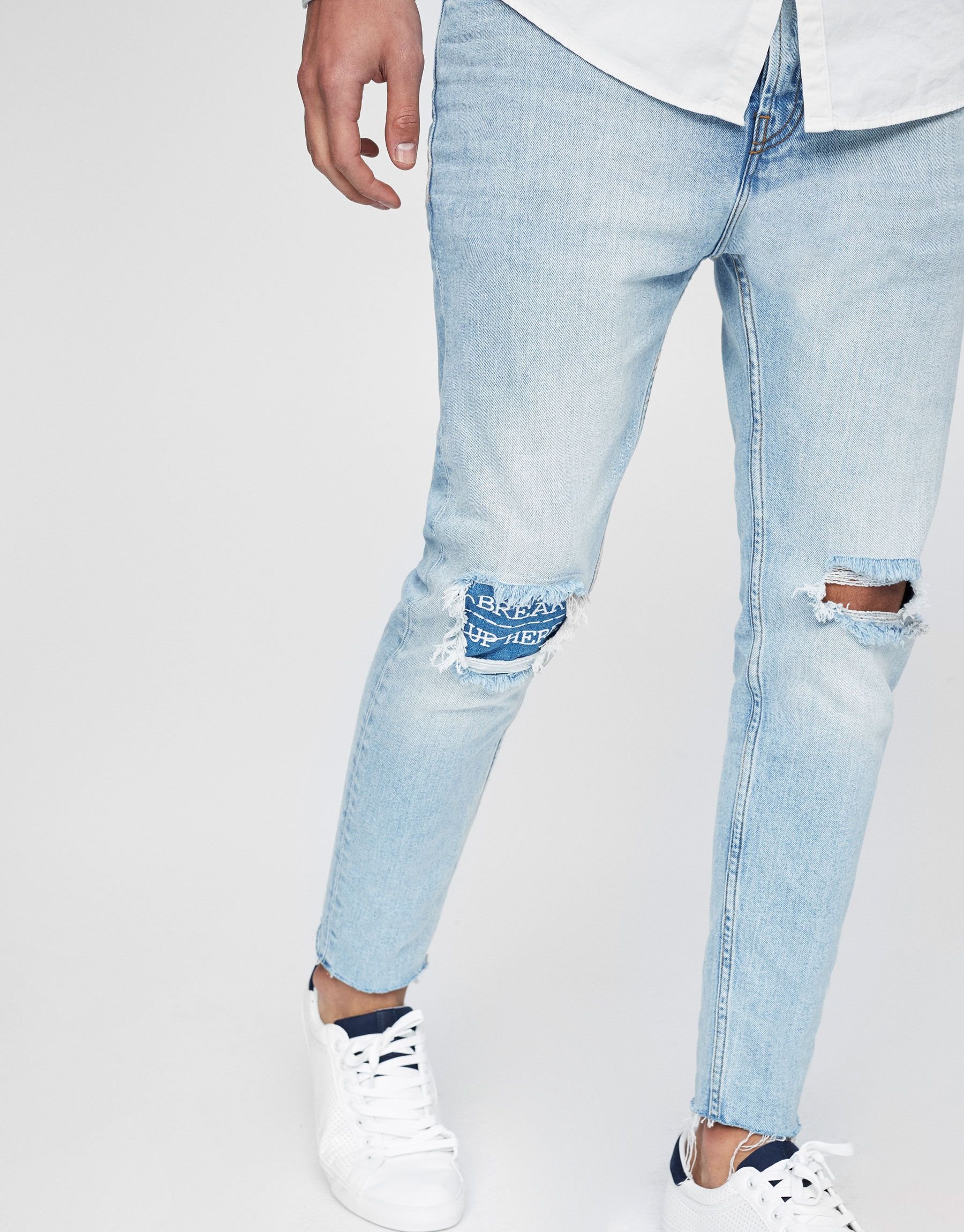 a1bb3a5977d Jeans carrot fit rotos - Jeans - Ropa - Ropa - Hombre - PULL&BEAR España