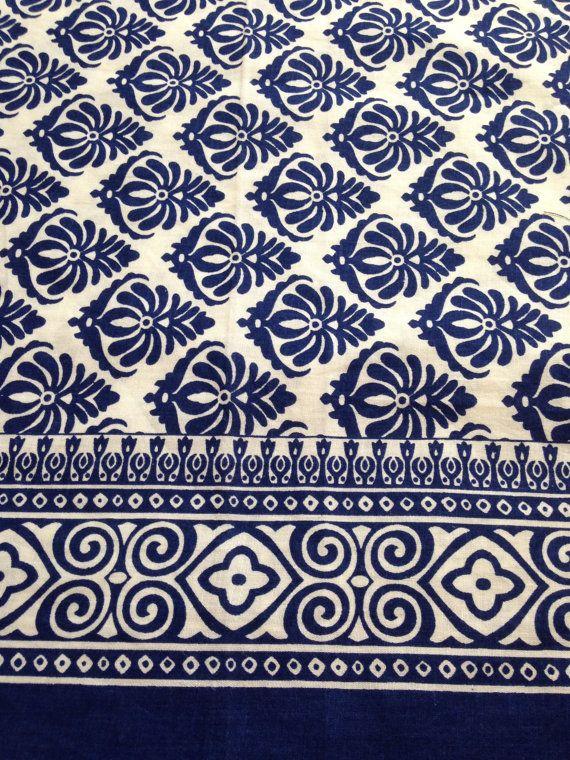Dandelion Print Curtains Block Print Fabric Indian Fabric Navy Blue By  Fiberstofabric