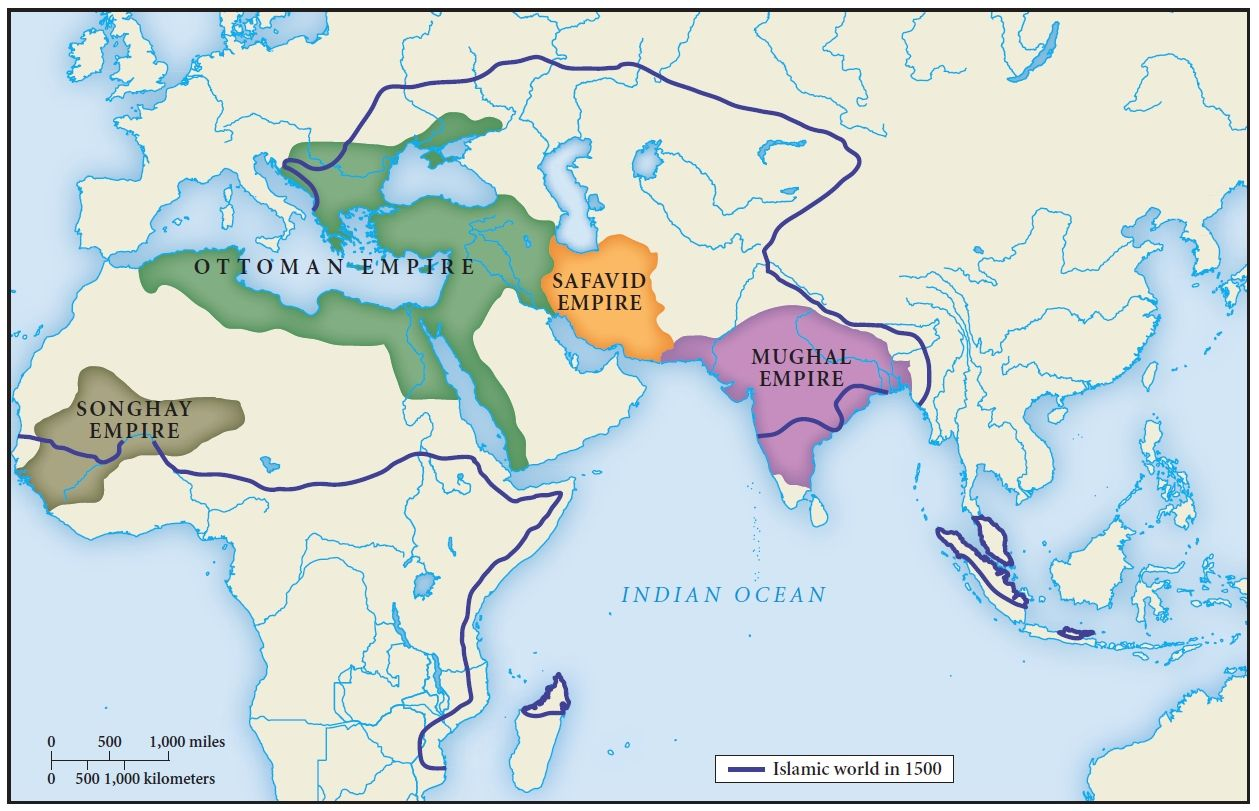 The extent of the Islamic world in 1500 CE. | Maps, etc. | Map ...