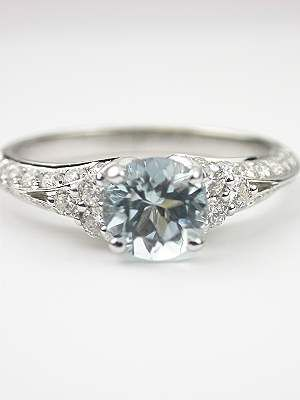 Love this!!!! Antique Style Aquamarine Engagement Ring