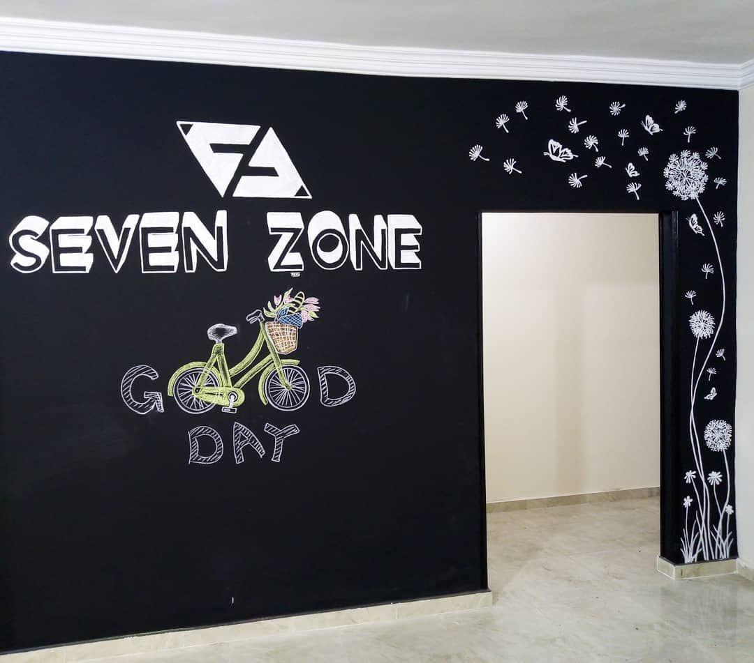 Wall Art At Seven Zone Work Space الرسم على حائط اسود وجمال الأبيض ع الاسود وبالنسبة للكتابة واللوجوهات داي D Home Decor Home Decor Decals Decor