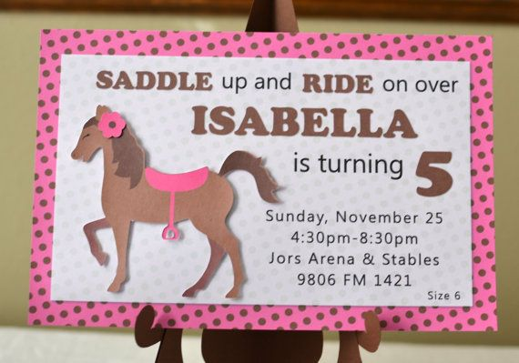 Pony Birthday Invitations, Horse Birthday Invitations - 3-D - (12 invitations and envelopes) CUSTOM Message and Name