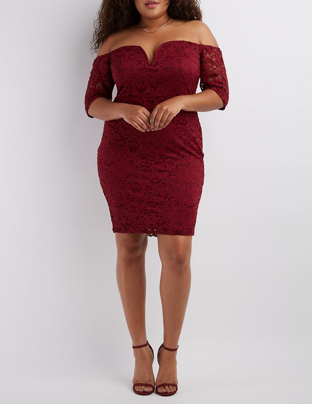 ddba2a013f Plus Size Lace Off-the-Shoulder Bodycon Dress | Charlotte Russe ...
