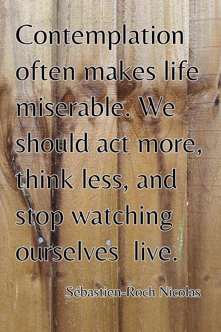 Famous Short Quotes About Life Contemplation Often Makes Life Miserablewe Should Act More
