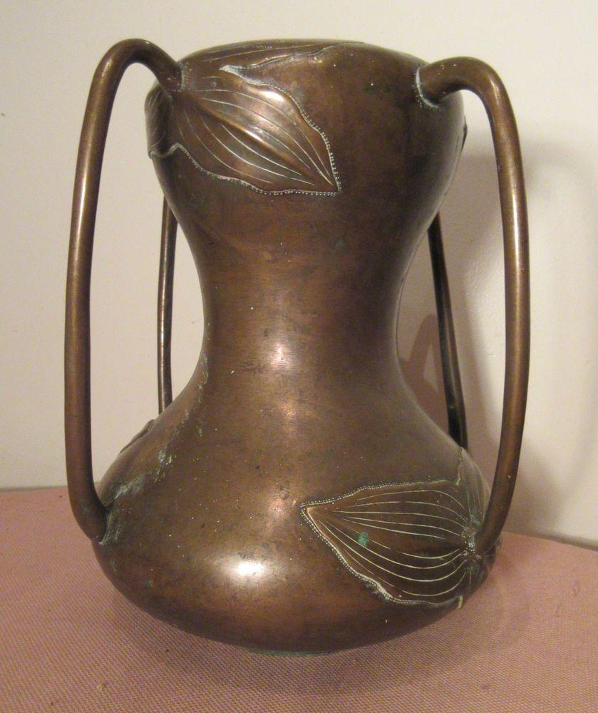 very large antique 1800's Japanese Meiji gilt bronze 4 handled gourd vine vase    eBay