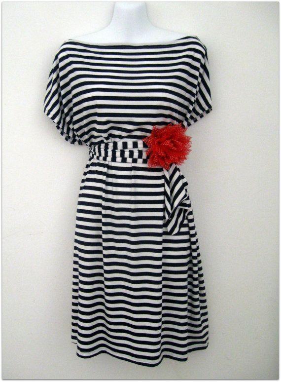 Kimono Marine summer blue and white striped dress by kimonoropa, $50.00