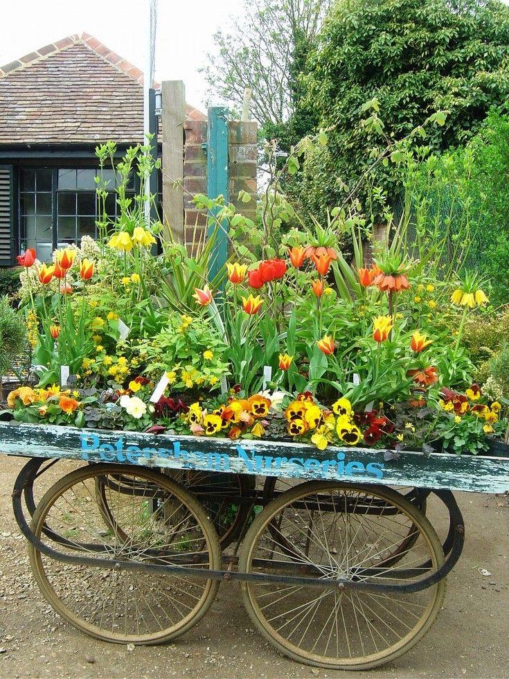 Petersham Nurseries, Richmond Surrey UK...another view of that fabulous cart as nursery display...