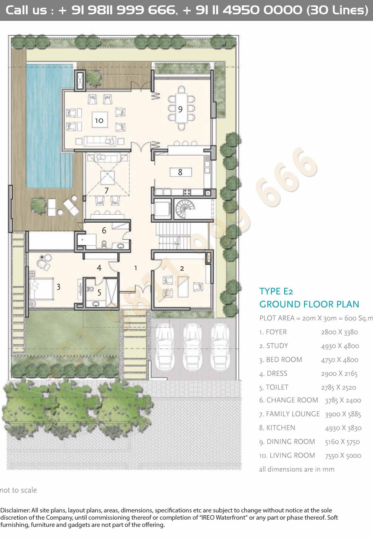 Type E2 Ground Floor Plan How To Plan Courtyard House Plans Architectural Floor Plans