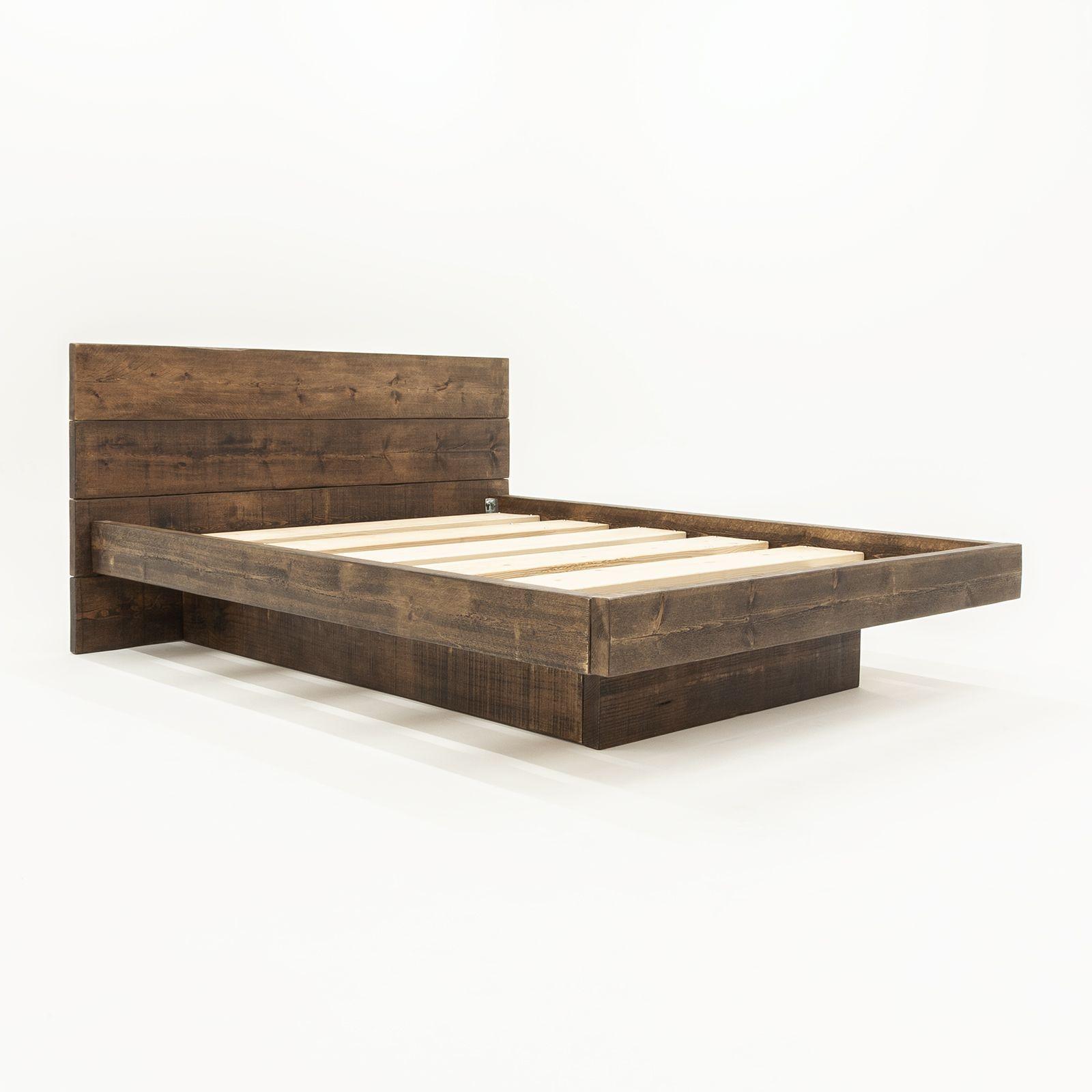 Pin By Emily Sanders On Furniture Floating Bed Frame Rustic Bed Frame Bed Frame Plans