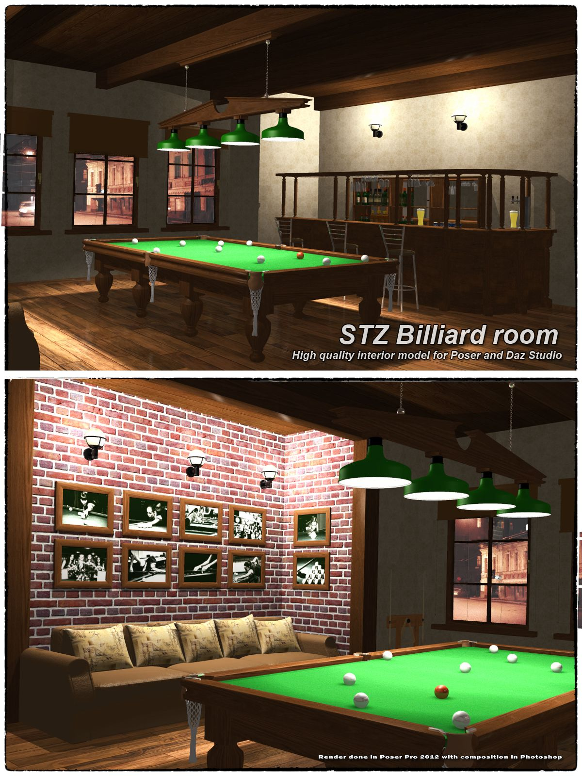 Stz billiard room renderosity pinterest room game for Pool design game